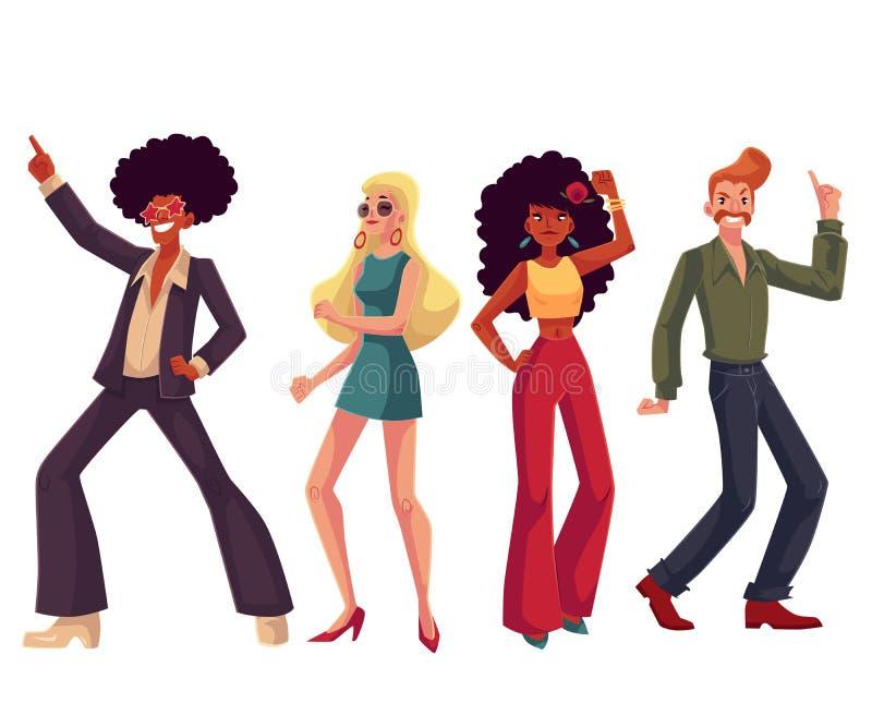 20世纪70年代样式的人们给跳舞迪斯科穿衣