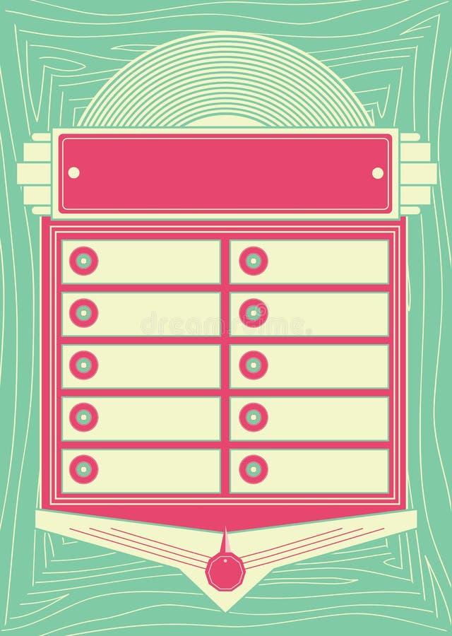 20世纪50年代样式自动电唱机背景和框架 库存例证