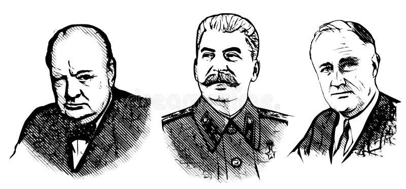 丘吉尔、斯大林和罗斯福 皇族释放例证