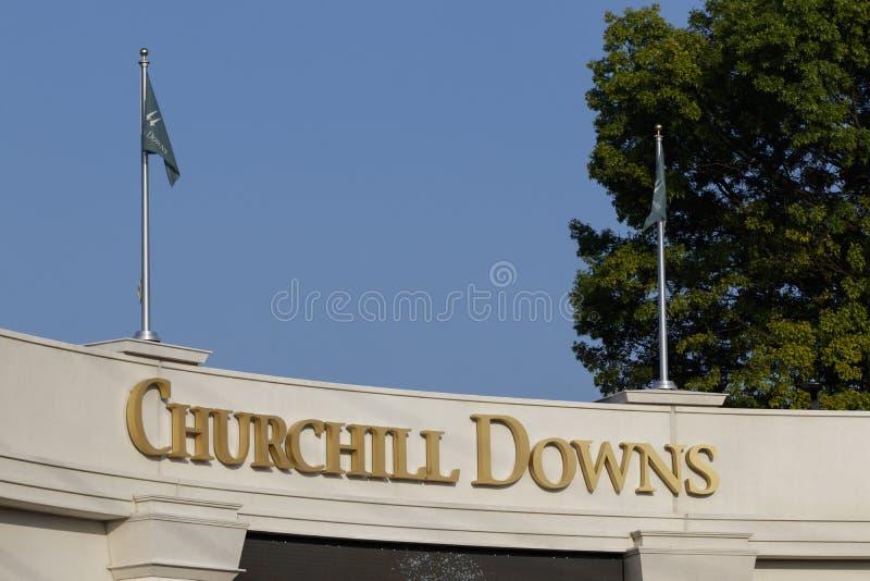 丘吉尔Downs,家向肯塔基德比 肯塔基德比是其中一颗赛马和职业体育皇冠上的宝石  库存照片