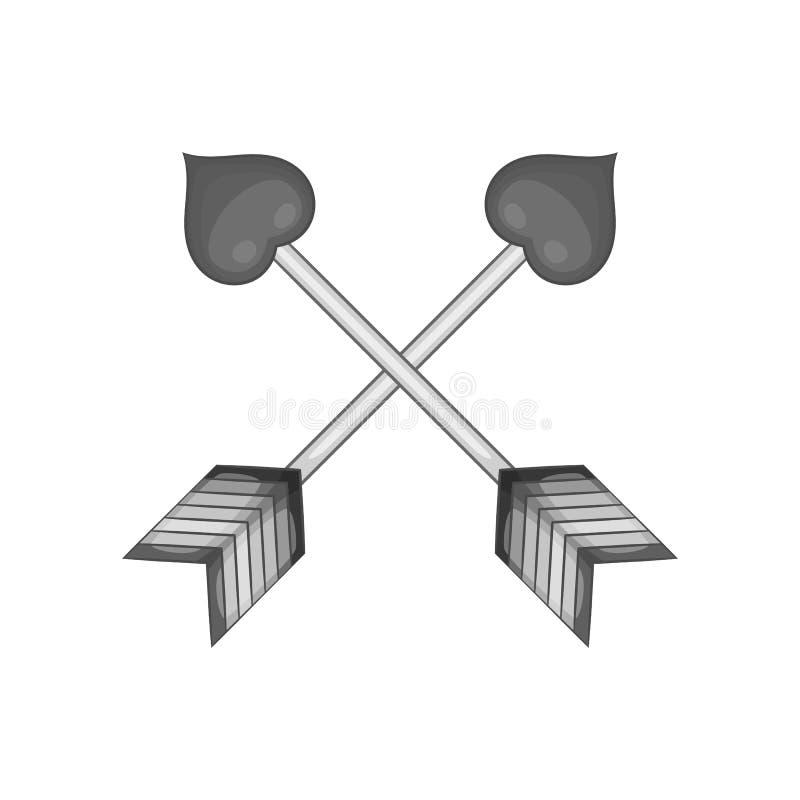 丘比特两个横渡的箭头与心脏象的 库存例证