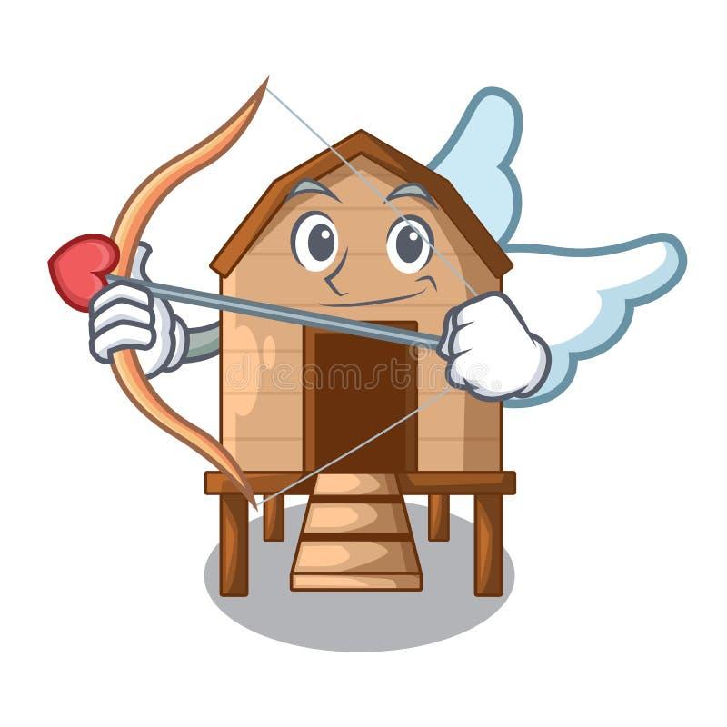 丘比特动画片鸡在小屋形状 皇族释放例证