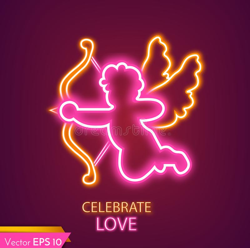 丘比特卡片现实霓虹灯的传染媒介 情人节丘比特可爱的标志 库存例证