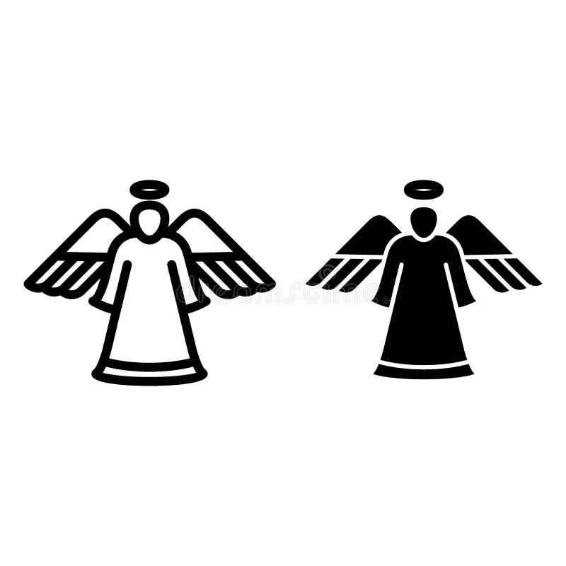 丘比特线和纵的沟纹象 与箭头在白色隔绝的传染媒介例证的天使 爱概述样式设计,被设计 皇族释放例证