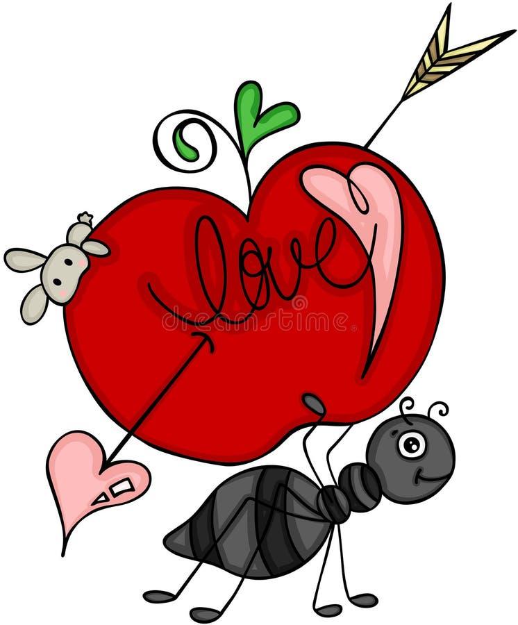 丘比特蚂蚁运载的爱红色苹果  库存例证