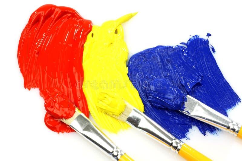 丙烯酸漆油漆刷 免版税库存图片