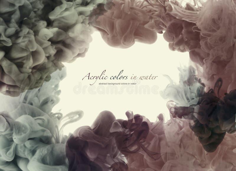 丙烯酸酯和watercolorcolors在水中 抽象背景 库存图片