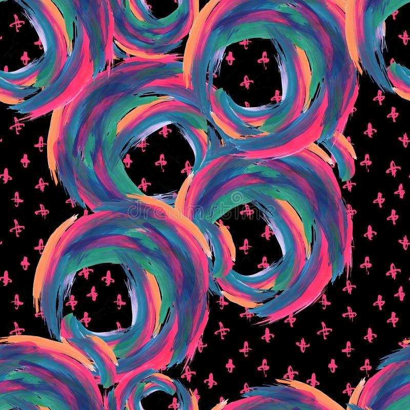 丙烯酸酯的圈子,乱画艺术性的无缝的样式 向量例证