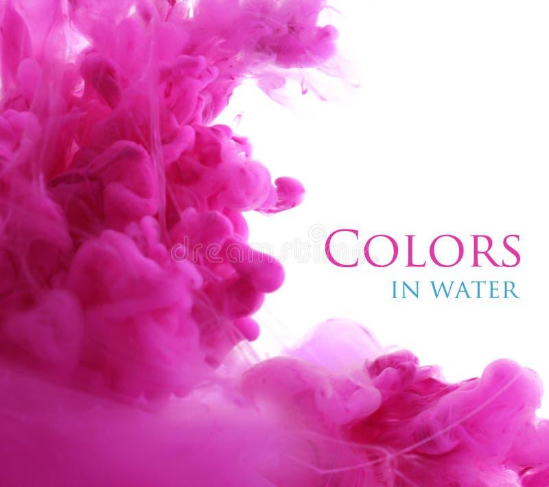 丙烯酸酯的颜色在水,抽象背景中 免版税库存图片