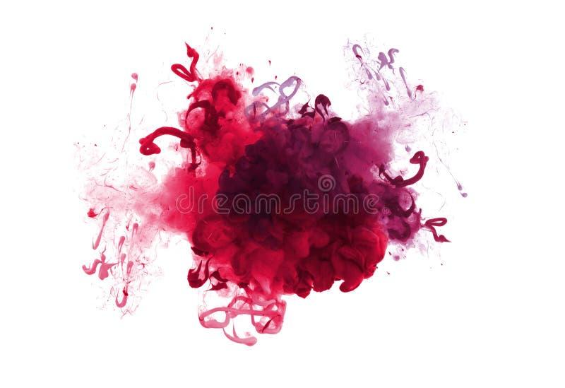 丙烯酸酯的颜色的汇集在水中 墨水污点 抽象背景 图库摄影