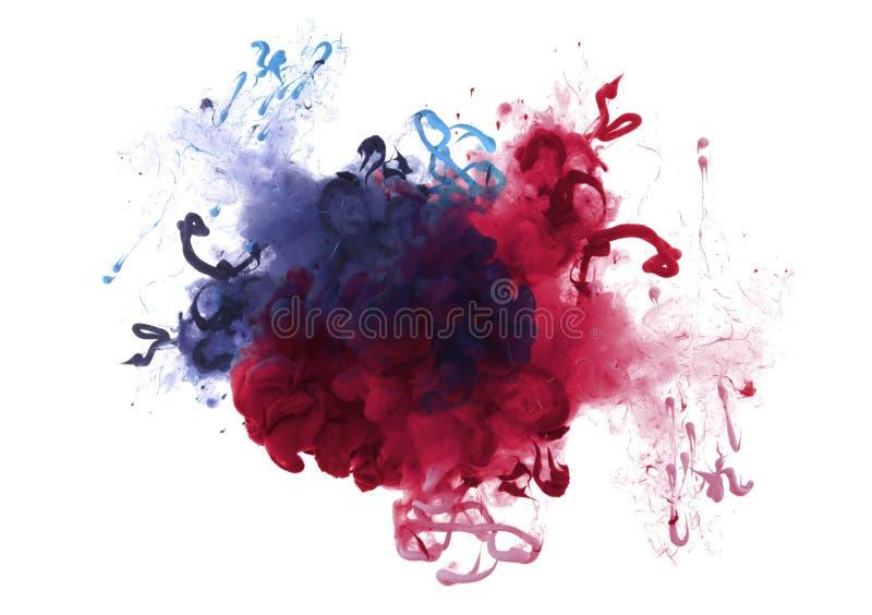 丙烯酸酯的颜色的汇集在水中 墨水污点 抽象backgr 图库摄影