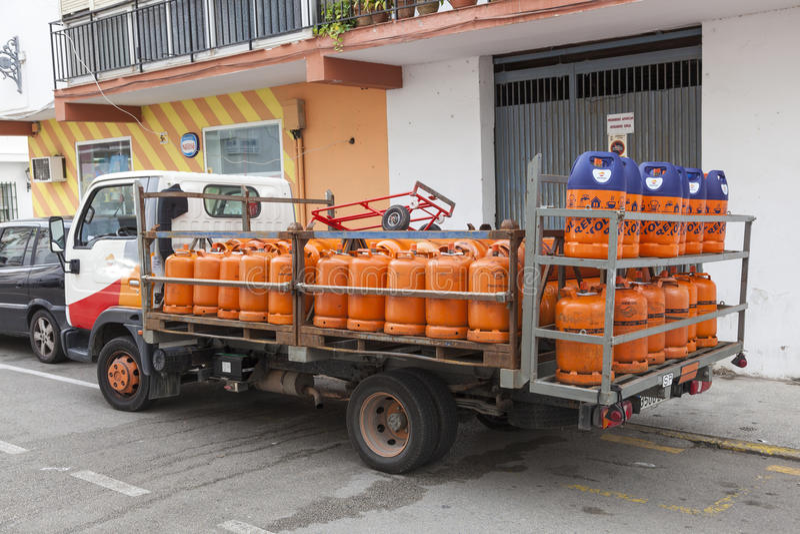 丙烷气体送货卡车 免版税图库摄影