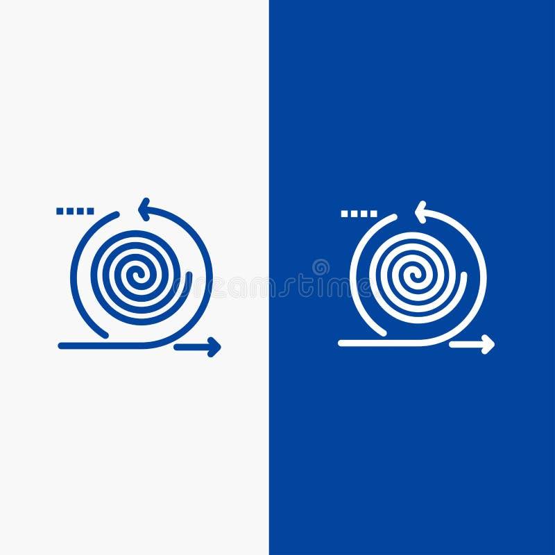 业务、周期、迭代、管理、产品线和字形实体图标蓝色横幅线和字形实体图标蓝色横幅 向量例证