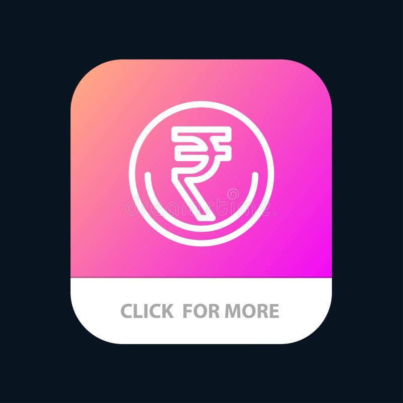 业务、货币、金融、印度、印度卢比、卢比、贸易移动应用按钮 Android和IOS行版本 向量例证