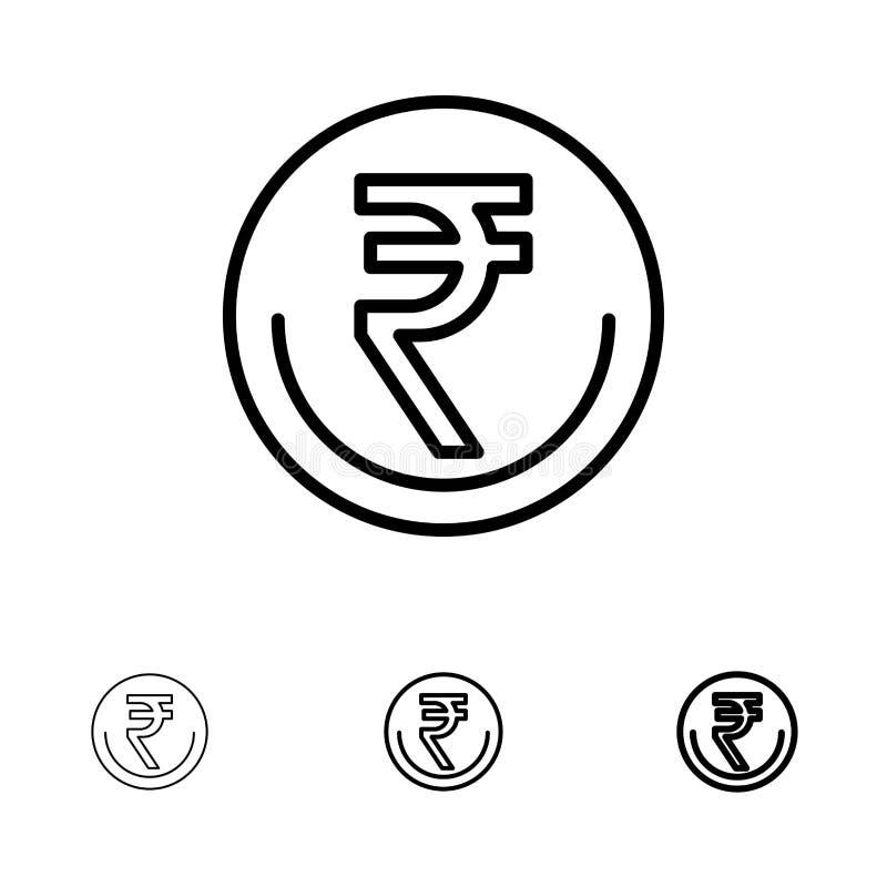 业务、货币、金融、印度、印度卢比、卢比、贸易粗体和细黑线图标集 库存例证