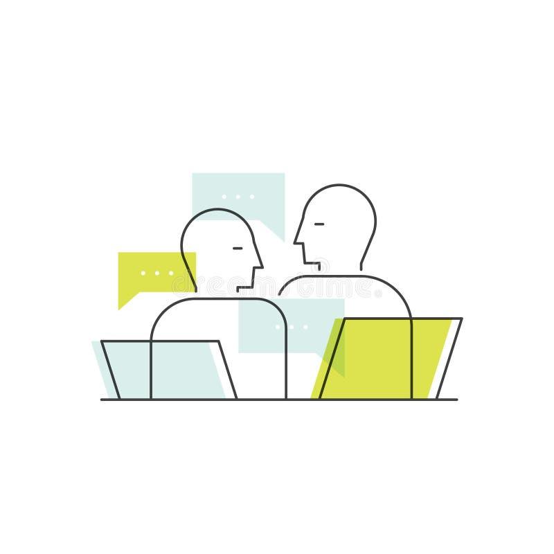 业务会议、任命、顾客在银行中或办公室,聊天两个的人,咨询,交谈 向量例证