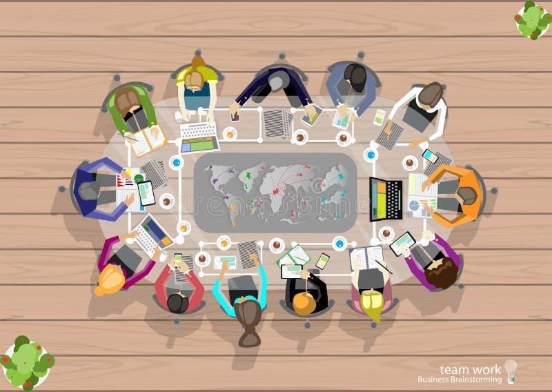 业务会议和激发灵感的传染媒介工作区 分析计划概念和网横幅、打印装置和机动性 向量例证