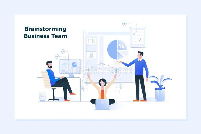 业务会议和激发灵感 企业概念上升奋斗配合 向量例证