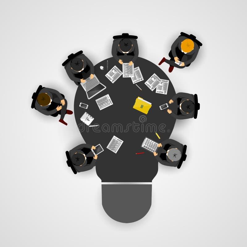 业务会议和激发灵感 想法和企业概念配合的 与人、队和电灯泡的Infographic模板 向量例证