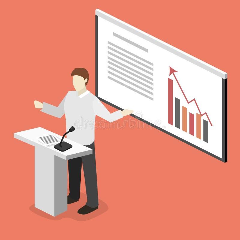 业务会议在一个办公室企业颁奖大会在会场里 平的3d例证 向量例证