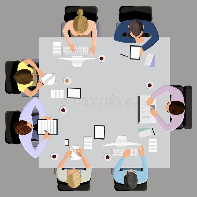 业务会议在顶视图 向量例证