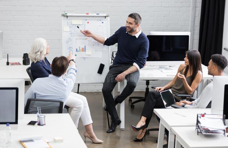 业务会议或一个介绍在现代会议室 免版税库存图片