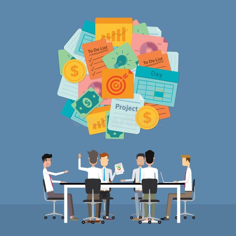 业务会议激发灵感和计划对项目 向量例证