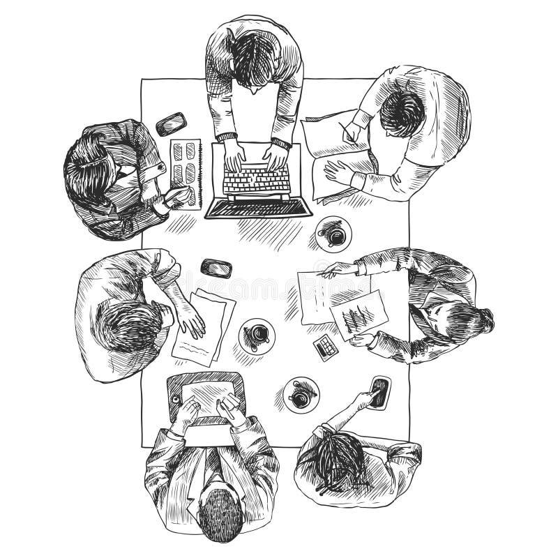 业务会议顶视图 库存例证