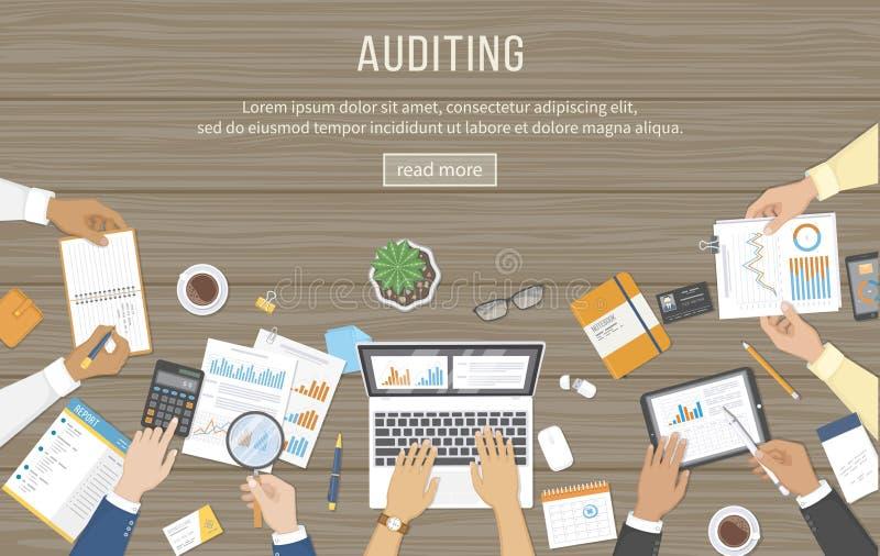 业务会议,审计,数据分析,报告,会计 书桌的人们在工作 在一张桌上的人的手与文件, 向量例证