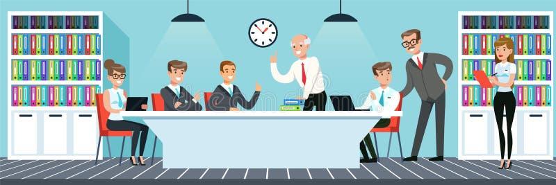 业务会议,工作在办公室的人们导航在平的样式的例证 皇族释放例证