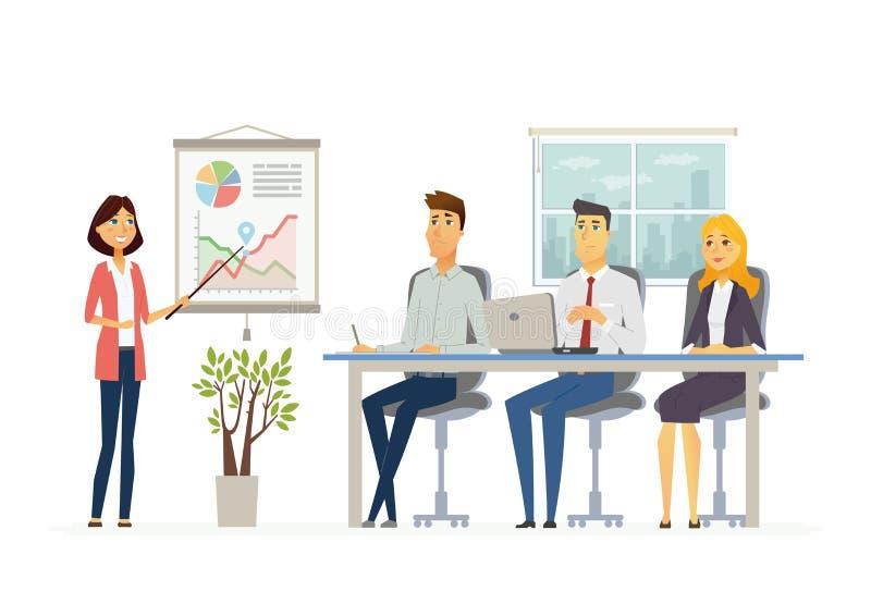 业务会议-现代传染媒介漫画人物例证 向量例证