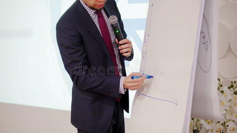 业务会议 画日程表一会儿演讲的一个人 库存照片