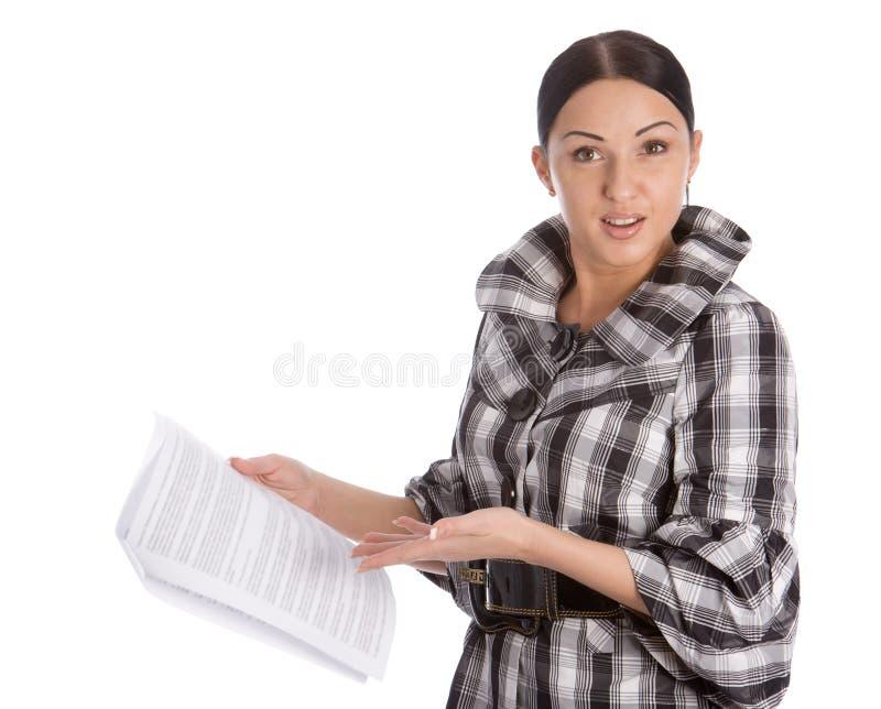 业务单据读了妇女 图库摄影