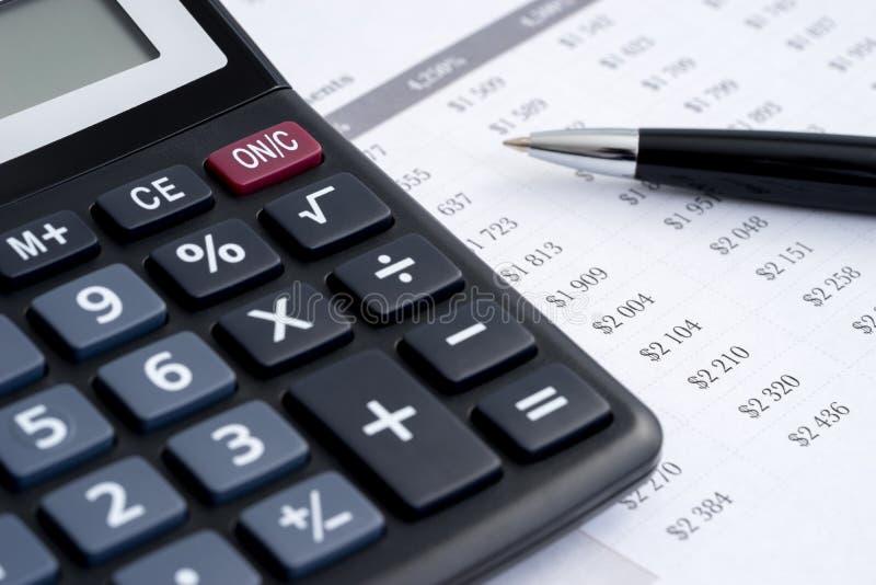 业务报告计算器 免版税库存照片