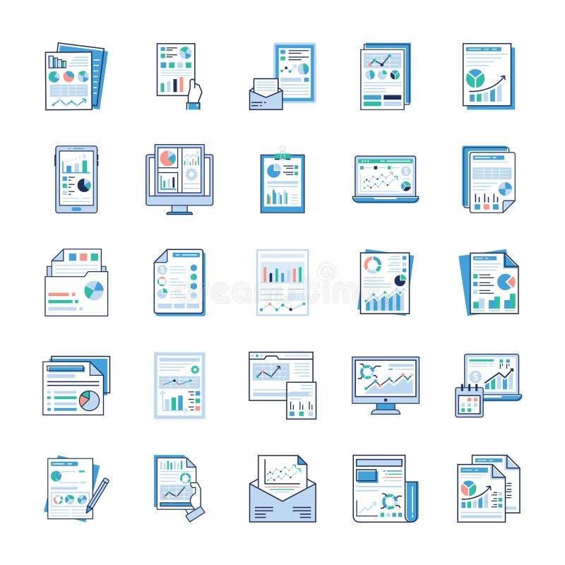 业务报告,静态分析,财政报告,平的象包装 库存例证