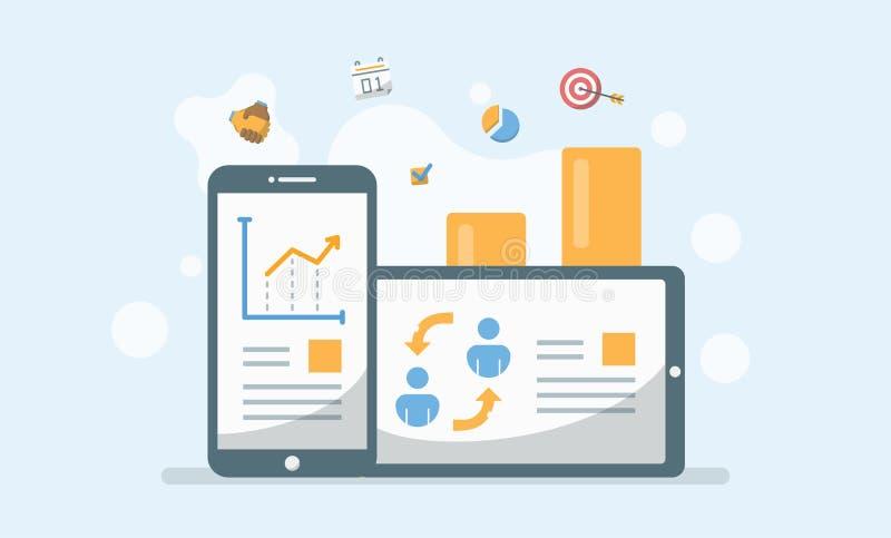 业务管理、成长报告和技术应用Ve 向量例证