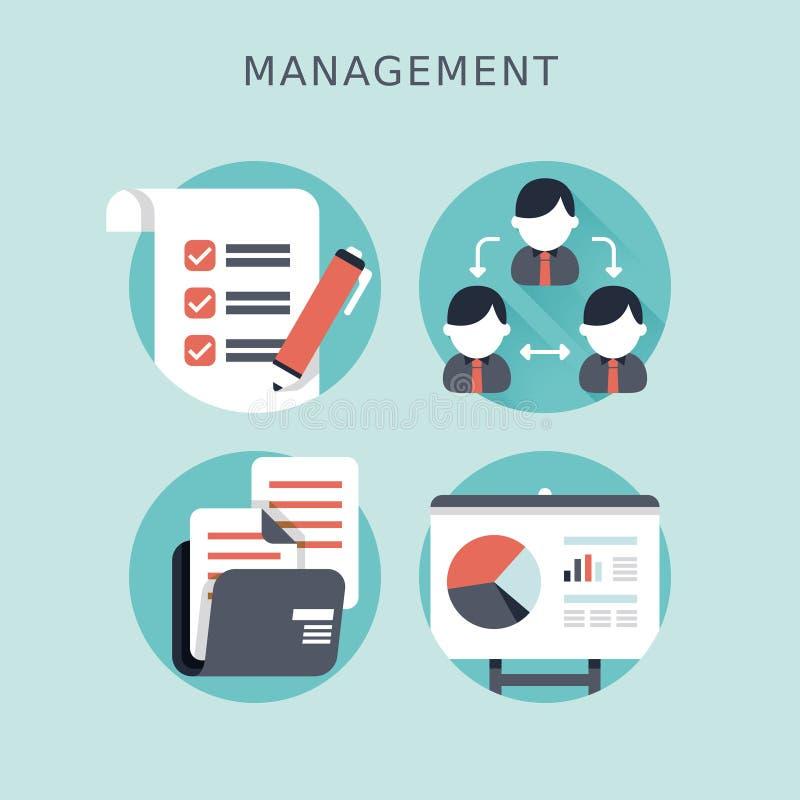 业务管理的平的设计观念 皇族释放例证