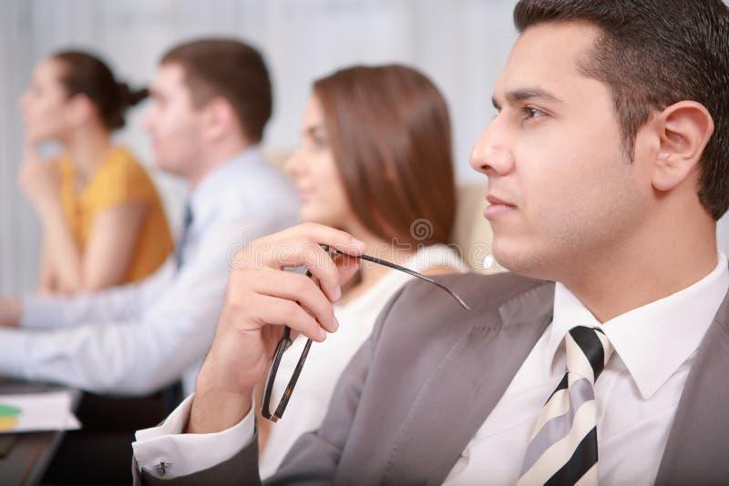 业务管理过程在会议上 免版税库存图片