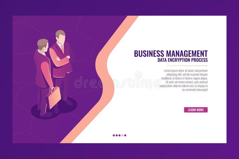 业务管理通信概念,网页模板横幅,商人手提箱等量传染媒介 向量例证
