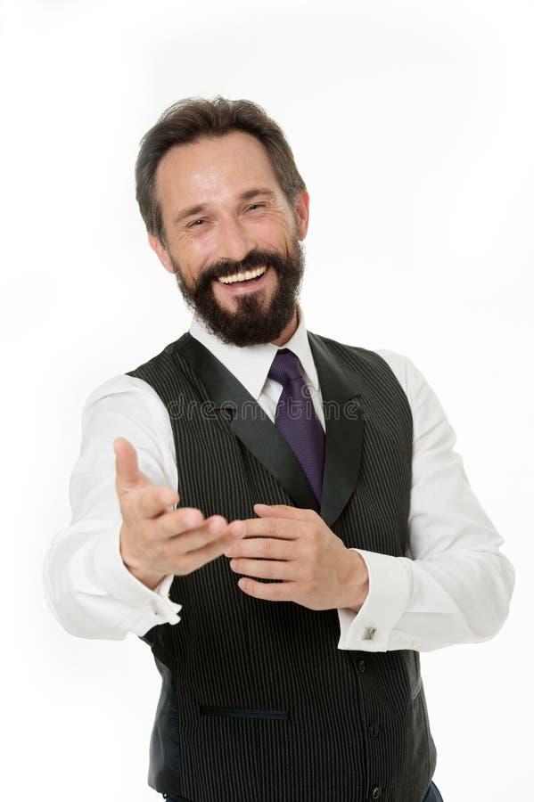 业务经理保证服务客户 准备帮助您 商人经典正式衣物快乐的面孔 免版税图库摄影