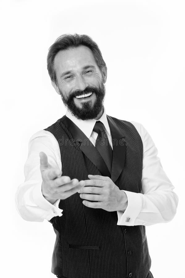业务经理保证服务客户 准备帮助您 商人经典正式衣物快乐的面孔 库存照片