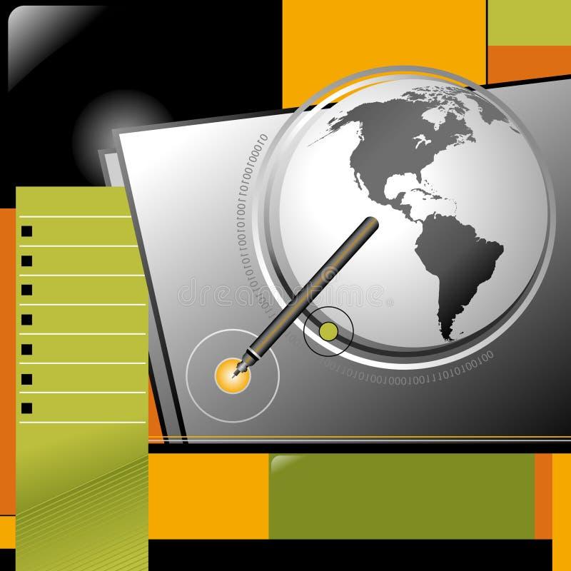 业务设计地球互联网笔模板万维网 向量例证