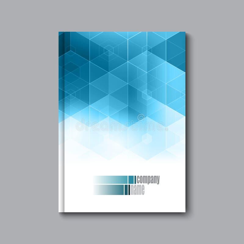 业务设计模板 报道小册子书飞行物杂志布局大模型几何六角形传染媒介例证 库存例证