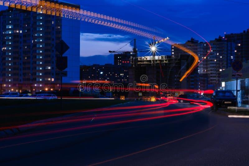 业务量在城市在晚上 免版税库存图片
