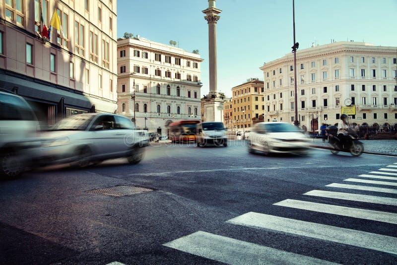 业务量在高峰时间在城市 免版税库存照片