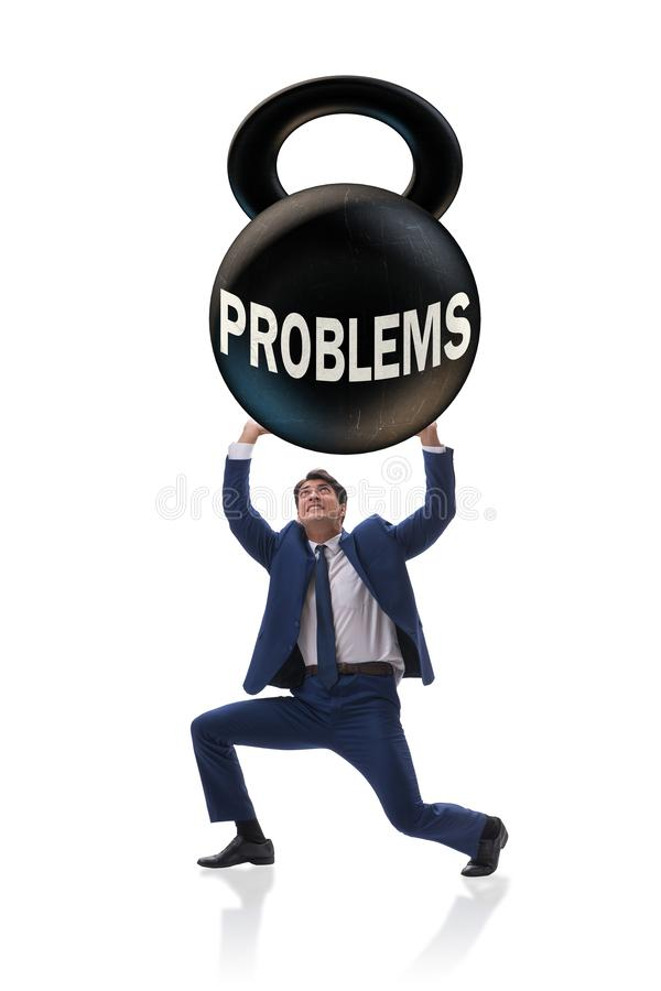 业务问题和挑战概念与商人 库存照片