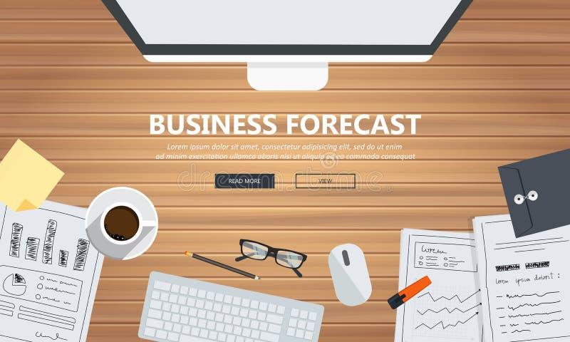 业务预测标题 平面矢量图 库存例证