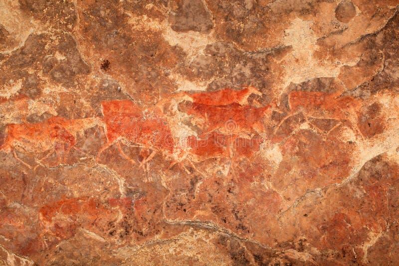 丛林居民岩石绘画 免版税图库摄影