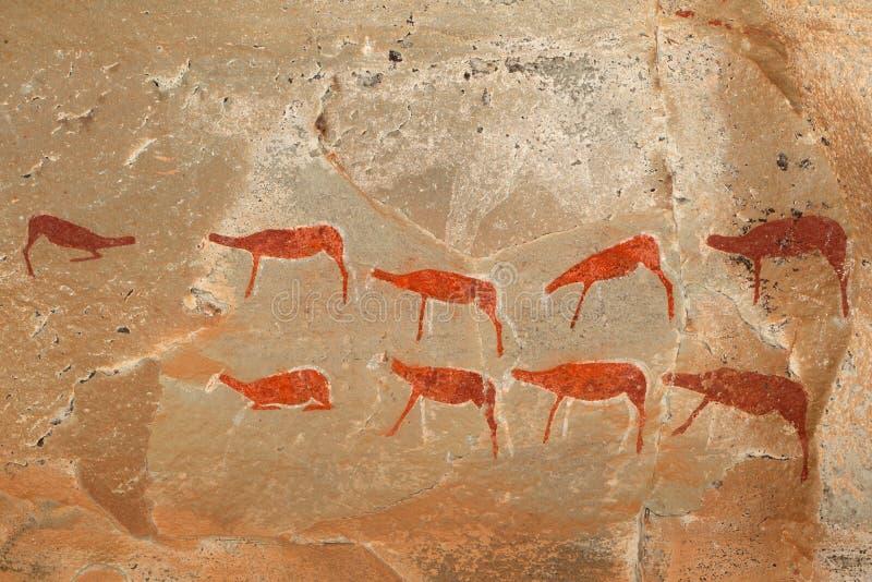 丛林居民岩石绘画 库存照片