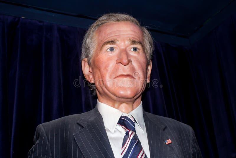 丛生乔治w总统 布什-蜡雕象 库存图片